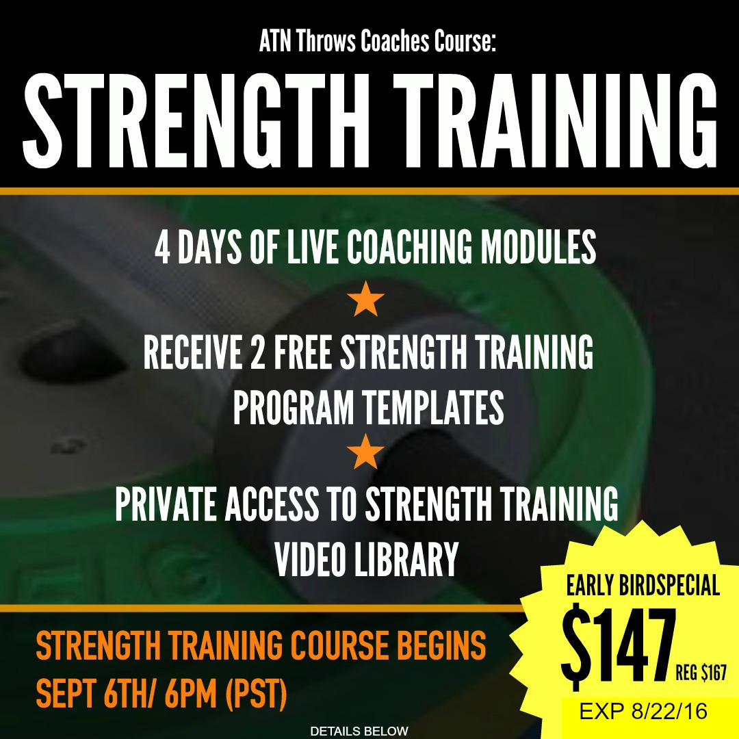 online throws coaching course strength training for shot put and discus