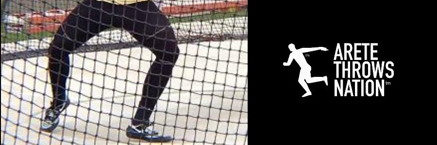 rotational discus shot put knees apart