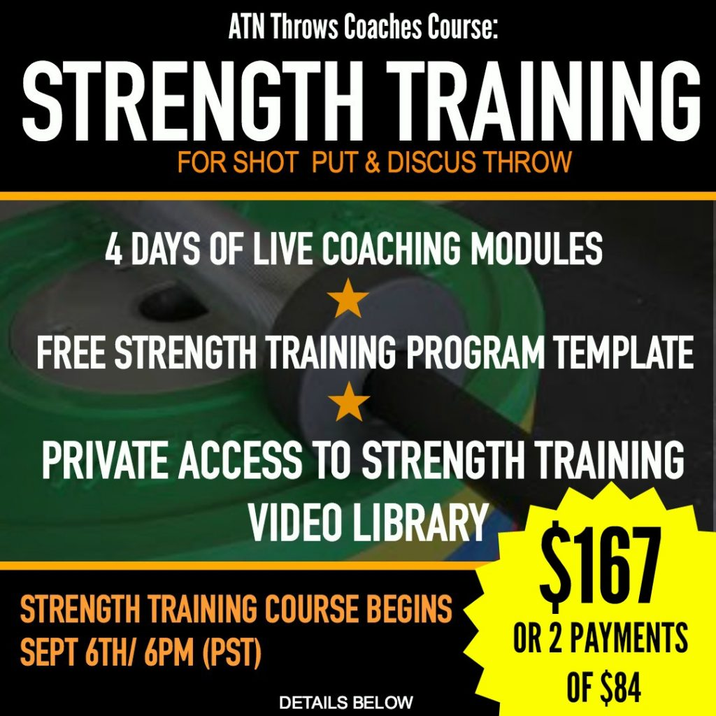 strength training course for shot put discus coaches and throwers